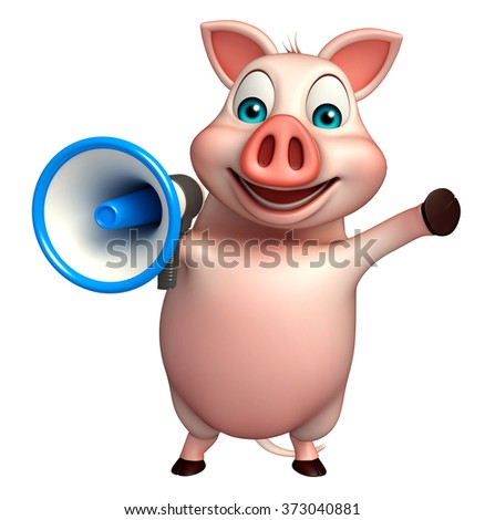 3d rendered illustration of Pig cartoon character with loud speaker  - stock photo