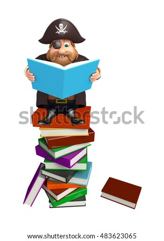 3d rendered illustration of Pirate with Book stack & book