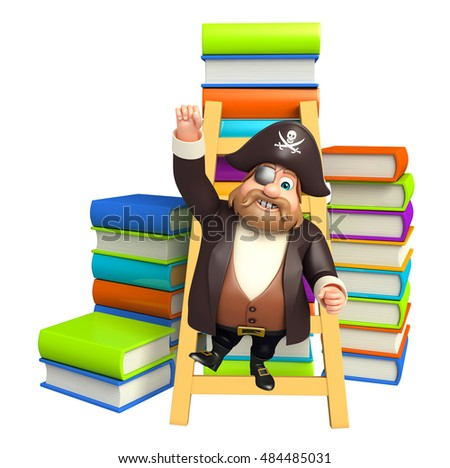 3d rendered illustration of Pirate with Book stack & ladder