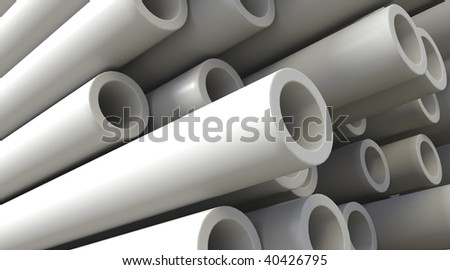 3D rendered illustration of plastic pipes - stock photo