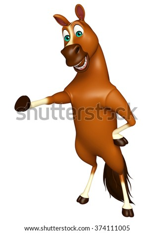 3d rendered illustration of pointing Horse cartoon character
