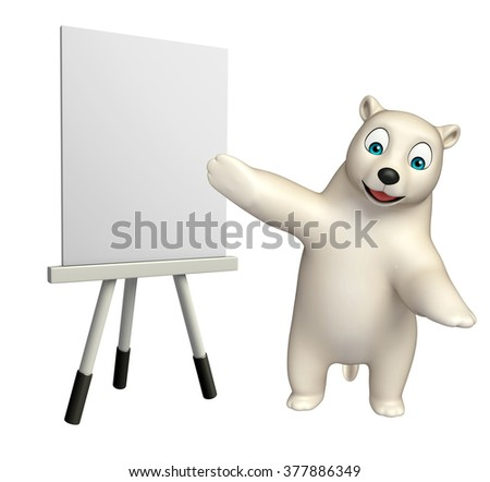 3d rendered illustration of Polar bear cartoon character with easel board  - stock photo