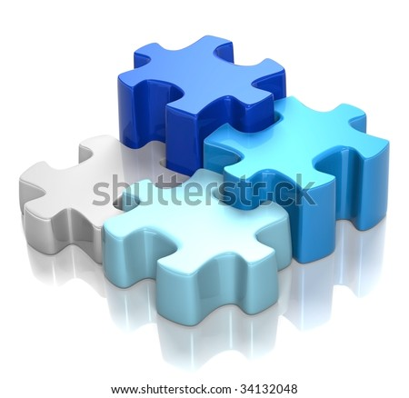3D rendered illustration of puzzle pieces in shades of blue, coming together, isolated in white background - stock photo