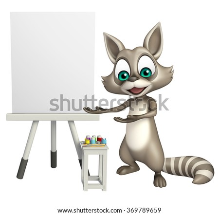 3d rendered illustration of Raccoon cartoon character with  easel board  - stock photo