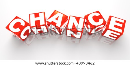 "3D rendered illustration of red, dice-like cubes spelling the word ""chance"" with white letters, randomly placed"
