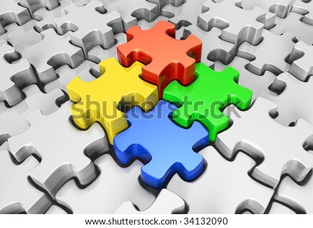 Jigsaw Puzzle Pieces Coming Together Puzzle Pieces Coming