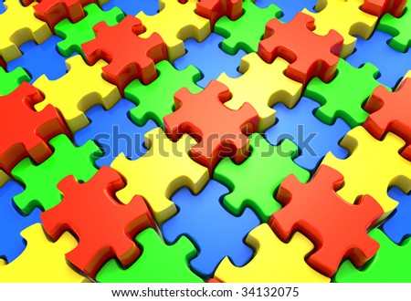 3D rendered illustration of red, green, blue, and yellow puzzle pieces forming an endless pattern