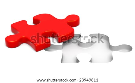 3D rendered illustration of red puzzle piece solving the riddle