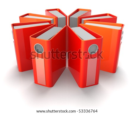 3D rendered illustration of red ring binders arranged in a radial array, isolated in white background