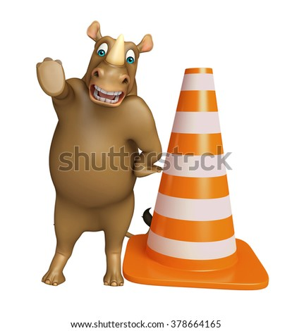 3d rendered illustration of Rhyhorn cartoon character with construction - stock photo