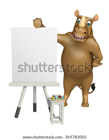 3d rendered illustration of Rhyhorn cartoon character with easel board - stock photo