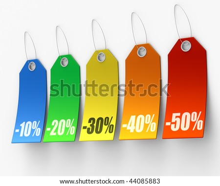 3D rendered illustration of sales price tags in various colors - stock photo