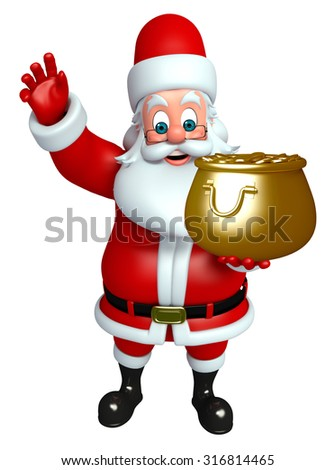 3d rendered illustration of santa claus with golden pot