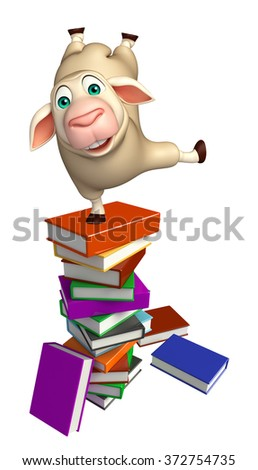 3d rendered illustration of Sheep cartoon character with books