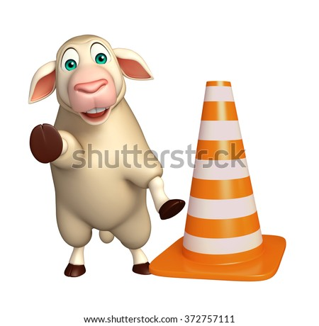 3d rendered illustration of Sheep cartoon character with 