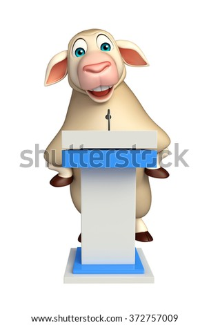 3d rendered illustration of Sheep cartoon character with speech stage