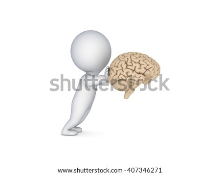3d rendered illustration of small person pushing a human brain isolated on white. - stock photo