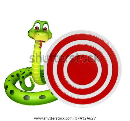 3d rendered illustration of Snake cartoon character with target  - stock photo