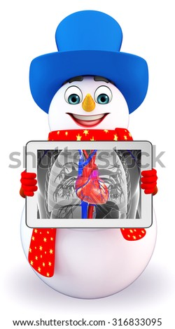 3d rendered illustration of snowman with anatomical x-ray - stock photo