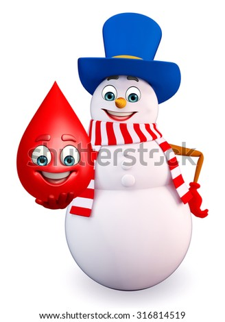 3d rendered illustration of snowman with blood drop - stock photo