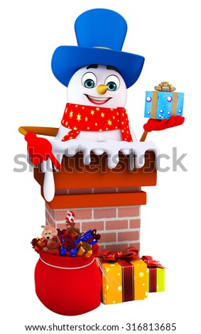 3d rendered illustration of snowman with chimney