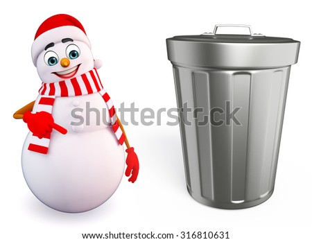 3d rendered illustration of snowman with dustbin - stock photo