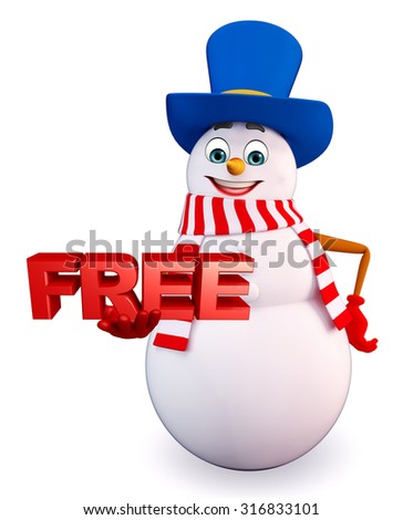3d rendered illustration of snowman with free sign - stock photo