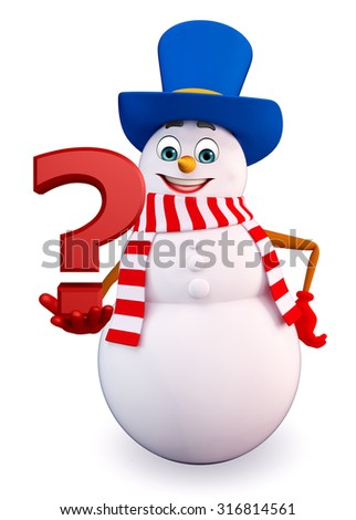 3d rendered illustration of snowman with question mark - stock photo