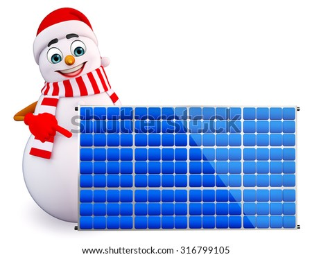 3d rendered illustration of snowman with solar panels - stock photo