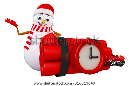 3d rendered illustration of snowman with timebomb - stock photo