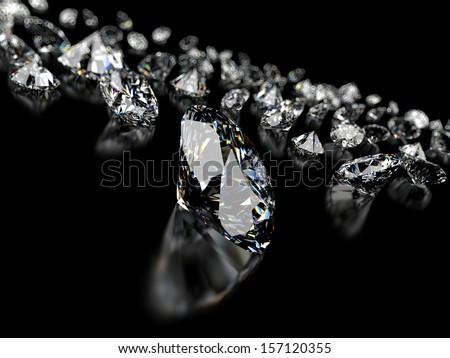 3d rendered illustration of some diamonds - stock photo