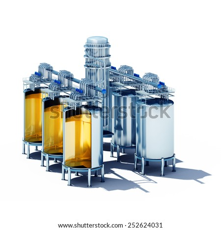 3d rendered illustration of steel fermentation vats section. Isolate on white background. - stock photo