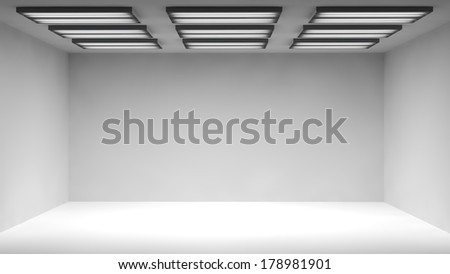 3D rendered illustration of studio light room with nine lamps