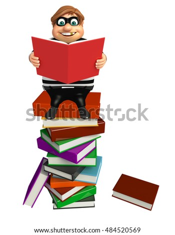 3d rendered illustration of Thief with Book stack & book