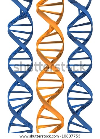 3d rendered illustration of three double helix - stock photo