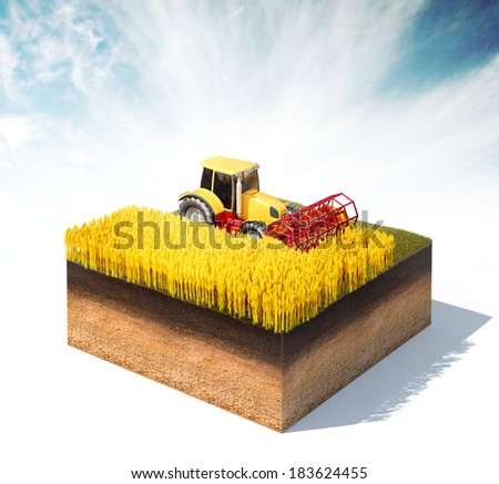 3d rendered illustration of tractor harvester harvesting wheat on a cross section of ground isolated on white - stock photo