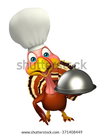 3d rendered illustration of Turkey cartoon character with chef hat and cloche