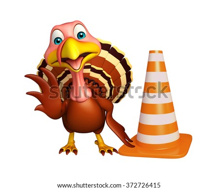 3d rendered illustration of Turkey cartoon character with  construction cone 