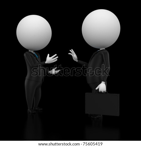 3d rendered illustration of two guys talking