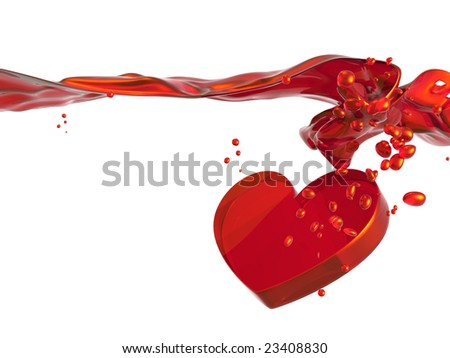 3D rendered Illustration of valentine heart in red, flowing water