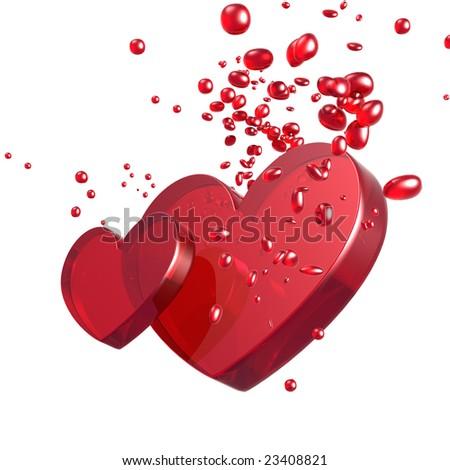 3D rendered Illustration of valentine hearts - stock photo