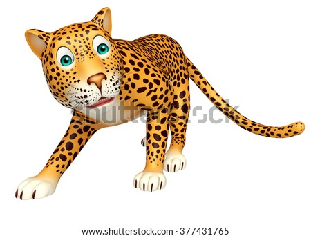 3d rendered illustration of walking Leopard cartoon character
