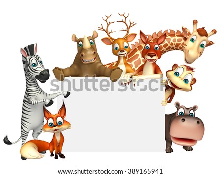 3d rendered illustration of wild animal with white board - stock photo
