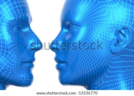 3D rendered illustration of wireframed heads, male and female, looking at each other - stock photo
