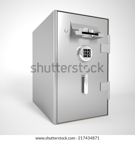3d rendered illustration on a cash machine isolated - stock photo