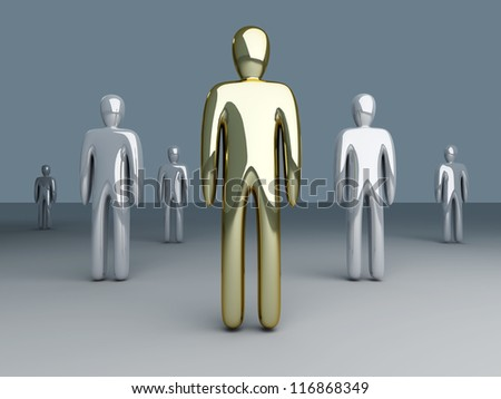 3D rendered Illustration. The leader of the team. - stock photo