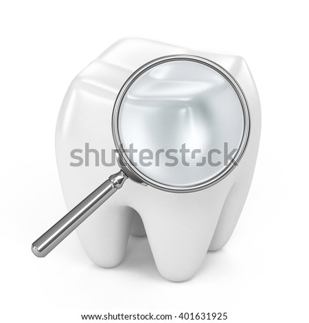 3d rendered illustration. Tooth 3d magnifier isolated on white background.