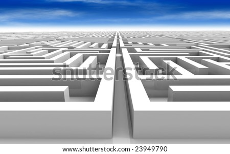 3D rendered illustration vast maze under a blue sky - stock photo