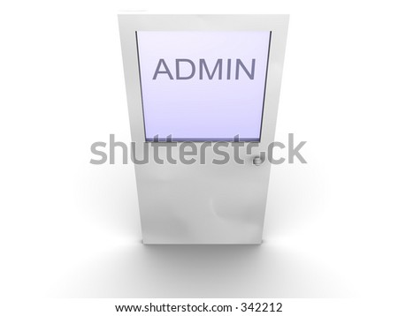 3d rendered image of a door to administrator. - stock photo