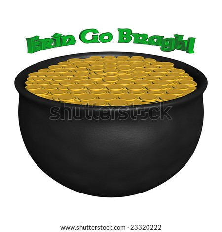 3D-rendered image of a pot of gold, isolated on white. - stock photo